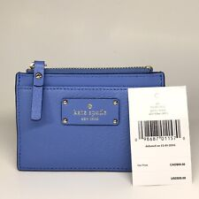 Kate Spade Adi Grove Street Alice Blue Leather Zip Top Card Holder Wallet
