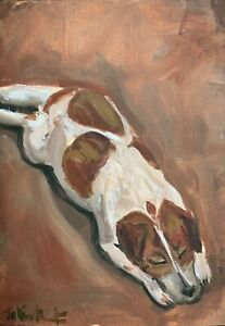 A4 Print of Original oil painting art Jack Russell dog impressionism shabby chic