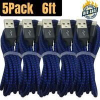 5Pack 6Ft USB Fast Charger Cable For Apple iPhone 12 11 8 7 6 iPad Charging Cord