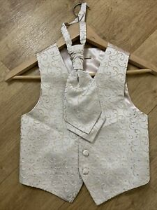 BHS Boys Champagne Gold Christening Wedding Party Waistcoat & Tie Age 5-6 VGC