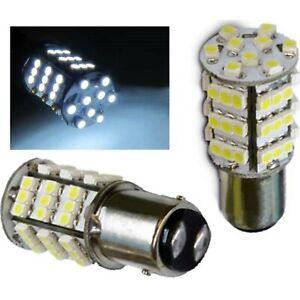 White 54 LED #1157 Pair 12V Tail Light Rear Brake Stop Turn Signal Lamps Bulbs