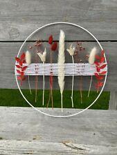Trockenblumen Flowerhoop, 25 cm **Rot / Weiß** Metallring, Weihnachtsdeko, Wand