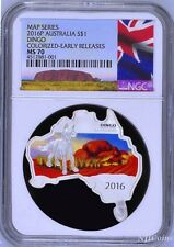 Australia MAP SHAPED COIN 2016 DINGO 1 oz $1 Silver Coin NGC MS70 ER NEW LABEL