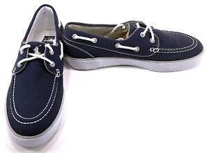 Polo Ralph Lauren Boat Shoes Lander Canvas Navy Blue/White Topsiders Size 8.5