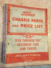 1928--1937 Ford Chassis Parts & Price List fort Passenger Cars & Trucks