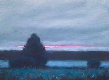 Original oil painting Dusk landscape signed impressionist art Blue Light New