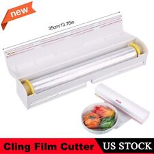 Kitchen Plastic Film Wrap Cling Dispenser Cut Food Storage Holder Cutter Home US