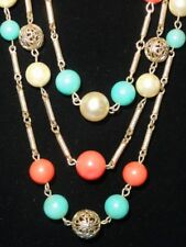 Vintage Victorian Revival Filigree Beads Necklace ~22""