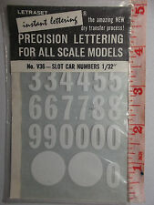 DECAL 1964 SEALED NOS LETRASET V36 1/24 SLOT CAR WHITE & BLACK NUMBERS DRY APPLY