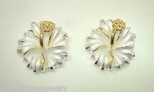 15mm Hawaiian 2-T STER Silver 14k Yellow Gold Matted Hibiscus Stud Earrings #2