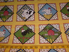 New listing Something to Crow About yellow w/ farm squares cotton quilt fabric panel Oop