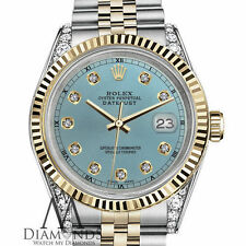 Rolex 26mm Datejust 2Tone Ice Blue Diamond Numbers Lugs 18KGOLD Stainless Steel