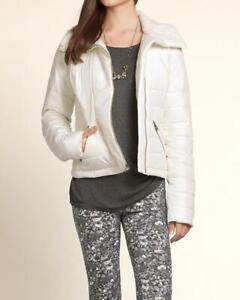 Ladies Hollister Cream Fur Collar Puffer Warm Winter Coat Jacket M BNWT RRP £89