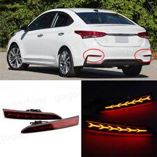 2x LED Car Auto Bumper Lens Reflector Tail Rear Brake Lights For Hyundai Accent