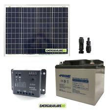 Kit solare fotovoltaico pannello 50W 12V Regolatore 5A Epsolar Batteria AGM 38Ah