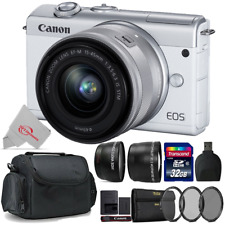 Canon Eos M200 Mirrorless Digital Camera White with 15-45mm + Top Accessory Kit