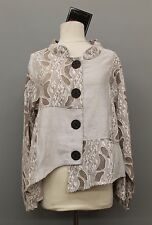 PRISA EURO ASYM COTTON MESH CRINKLED L/S BUTTONED JACKET TAUPE Sz 0  US 12 $345