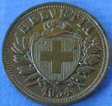 1934  Zwitserland - Switzerland  2 Rappen 1934 B - KM# 4.2 - nice!