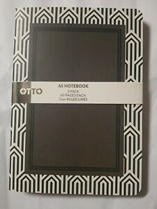 Otto A5 Monocrome Notebook 3 Pack 60 Page Each 7mm Ruled Line - Art Deco