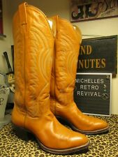 Vtg 80s Womens 7.5 Nocona Butterscotch Brown Tan Boots Leather Western Rodeo Usa