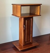 Solid Timber Tall Mobile TV Stand Unit Entertainment on Wheels Cabinet