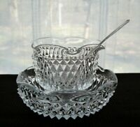 Indiana Glass Clear Diamond Point 3 piece Mayonnaise Sauce Bowl Serving Set