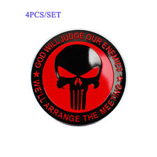 4X 56mm Styling Car Wheel Center Caps Hub Cover Red Skull Emblem Decal Stickers