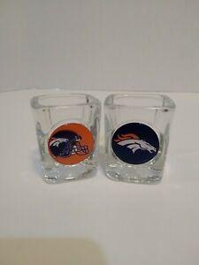 Denver Broncos Shot Glasses-Set of 2-Current Logo & Helmet w/Logo