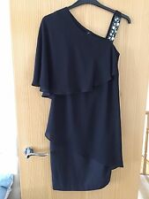 Ladies black Jewel detailed shouldered layered Dress by Yessica Size 8