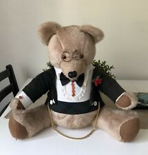 Classic Vintage Big Teddy Bear Evening Dinner Outfit Glasses Siting Pre Owned