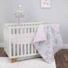 3 Piece Sweet Fawn Lavender and Aqua Deer/Forest 3 Crib Bedding Set