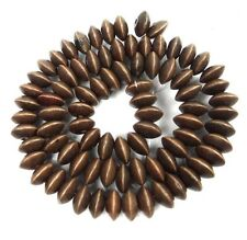 "10x5mm Light Brown Wood Abacus Rondelle Beads 16""  2mm hole"