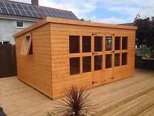 """14x10 Pent summerhouse 2 opening windows 13mm t+g 3X2 frame1""""thick floor erected"""