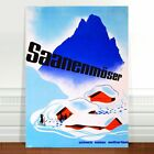 "Stunning Vintage Travel Poster Art ~ CANVAS PRINT 36x24"" ~ Switzerland Ski"