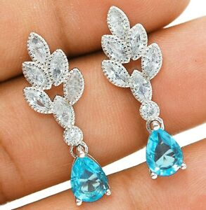 Aquamarine & White Topaz 925 Solid Sterling Silver Earrings Jewelry