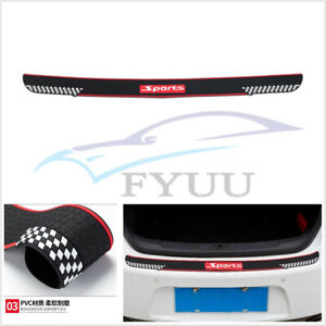 Sport Style Car Rear Bumper Anti-Scratch Protector Non-slip Pad Rubber Black+Red