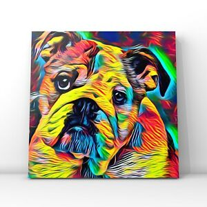 Square canvas -British Bulldog abstract framed wall art