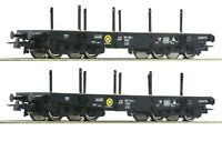 Roco HO 76080 2 piece set: Heavy duty flat wagons, DB