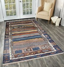 Indian Hand Knotted 100% Wool Multi Color Abstract Modern New Area Rug 3'X5'