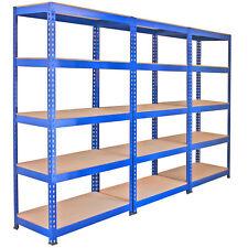 3 Estanterías de Acero Inoxidable Sin Tornillos Azules Q-Rax 90cm de Ancho