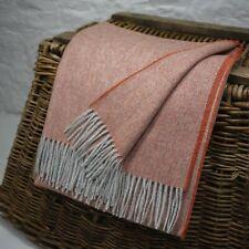Orange & Grey Herringbone 100% Wool British Made Tweed Fabric Blanket Throw