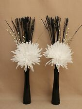 ARTIFICIAL SILK (SET OF 2) LARGE WHITE POM POM FLOWERS - IN BLACK CERAMIC VASES