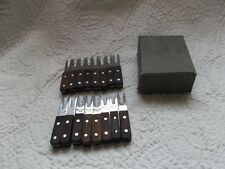 16 Mid-Century Japanese Stainless Steel and Wooden Corn Cob Holders w/ Box