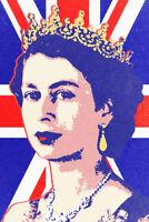 Queen Elizabeth II Union Jack Pop Art Print Poster 12x18 inch