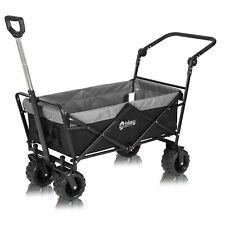 More details for folding wagon pull & push cart trolley garden camping festival sports black