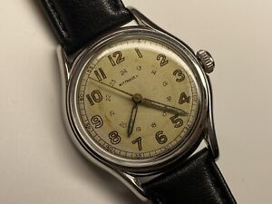 beautiful vintage 24 hour dial wittnauer military swiss made wristwatch 🇨🇭