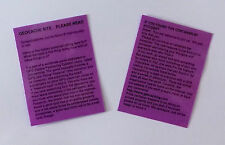 4 x Purple laminated geocache instructions for muggles.  Geocaching.  Cache  GPS