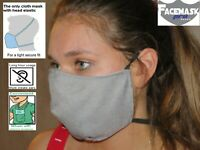 Washable Face Mask reusable Facemask Dual Around-the-head Elastic Gray