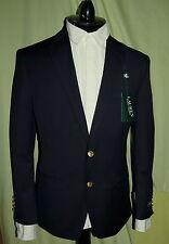 NWT RALPH LAUREN mens 2 gold button front navy wool blazer US size 38R POLO