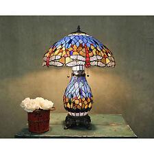 Tiffany Style Blue Dragonfly Table Lamp W/Illuminated Base